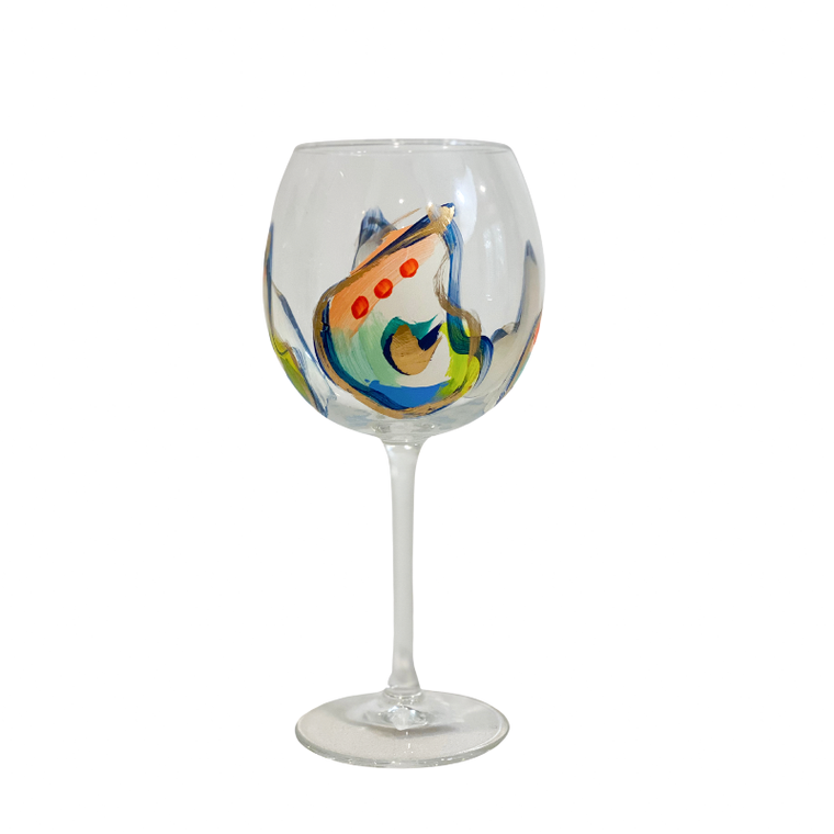 Hand Painted Oyster Stemmed 16 oz Wine Glass