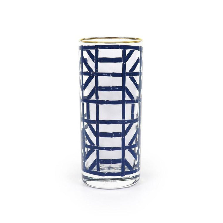 Navy Bamboo Drinking Glass