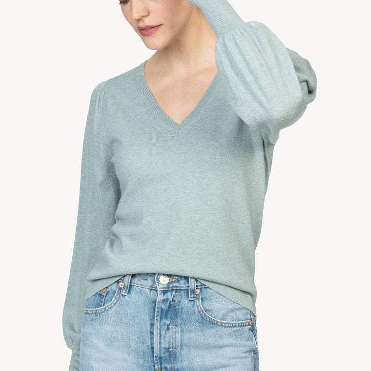 Puff Sleeve V-Neck Sweater (black or patina)