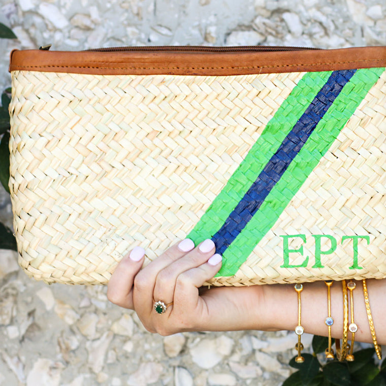 Hand Painted Stripe Clutch