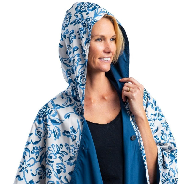 RainCaper Navy & Garfield Print Reversible Travel Cape