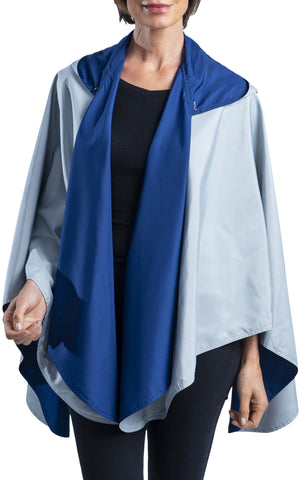 RainCaper Navy & Grey Reversible Travel Cape