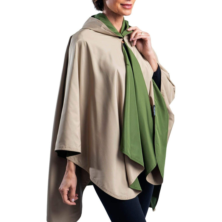 RainCaper Olive & Camel Reversible Travel Cape