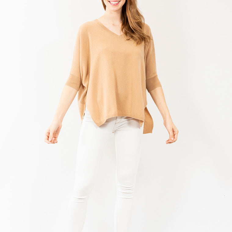 Two Bees V-Neck Cashmere Sweater