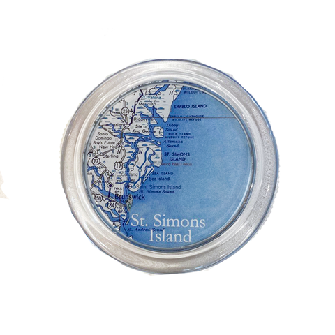 "St. Simons/Sea Island  5"" Glass Wine Coaster (2 Designs)"