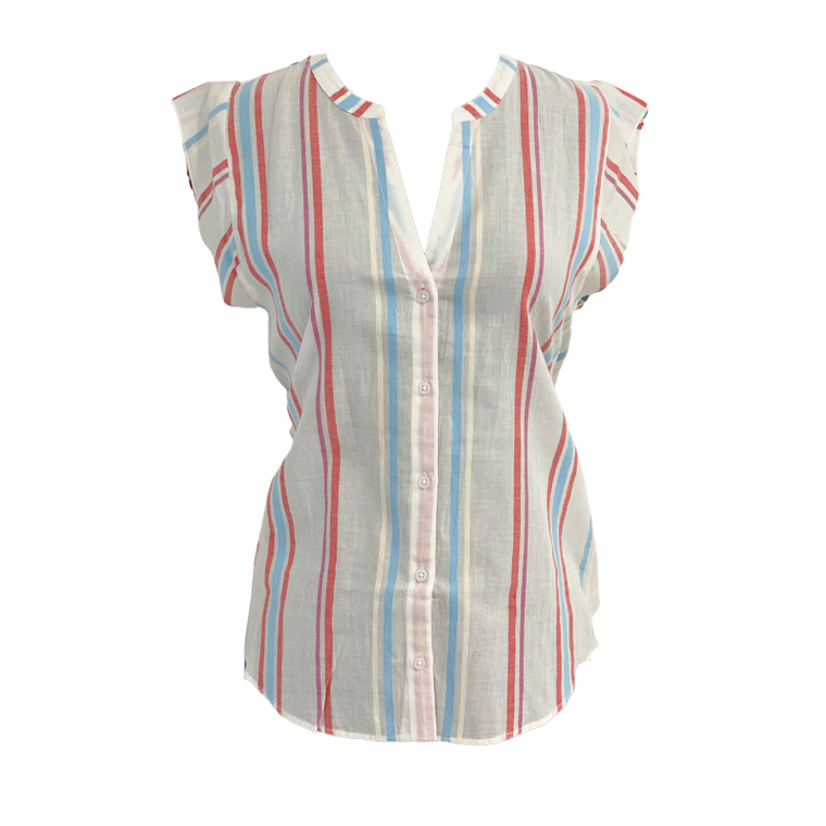 Short Sleeve Button Down-Stripes