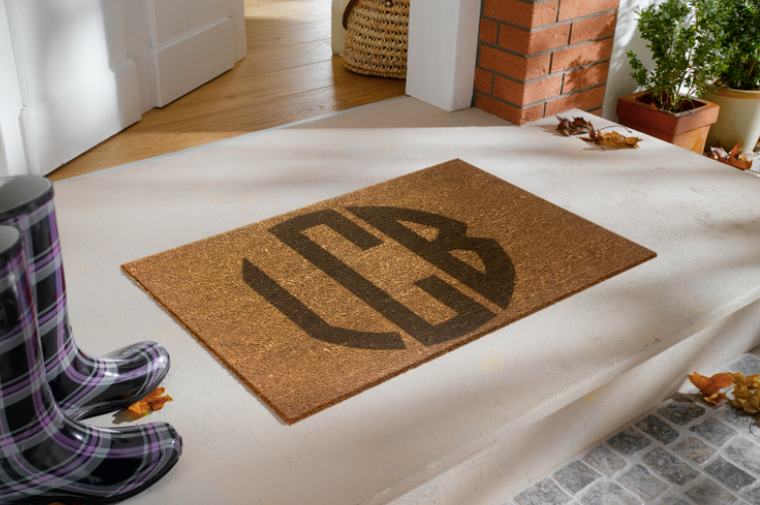Custom Door Mat- Circle Monogram