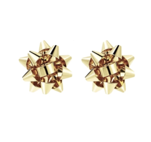 Gold Present Bow Earrings