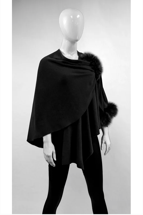 Classic Black Knit Wrap with Poms