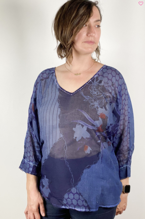 V-Neck Batwing Blouse Blue