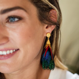 Brackish Feather Statement Earrings Leigh