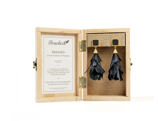 Brackish Feather Statement Earrings Parades