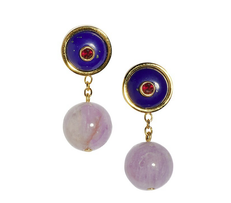 Lizzie Fortunato YOLO Earrings In Lapis