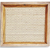 Small Teak Decorative Tray With Bamboo Weaving
