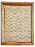 Large Teak Decorative Tray With Bamboo Weaving