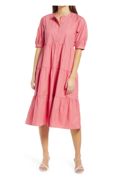 Coral Puff Sleeve Dress