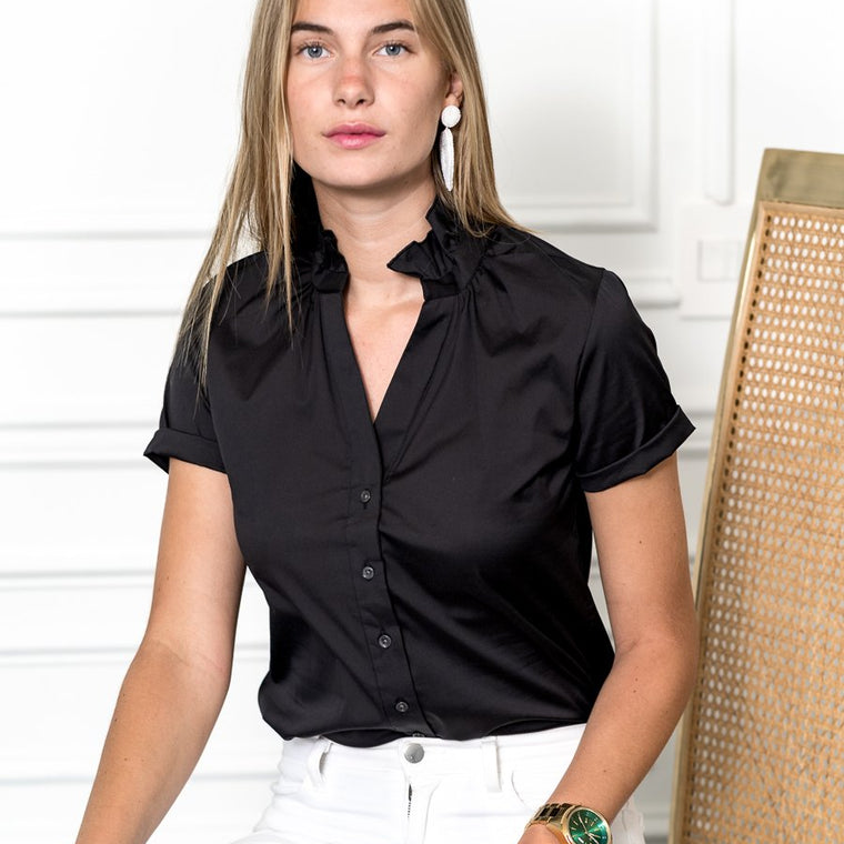 The Short Sleeve Shirt / with ruffle collar