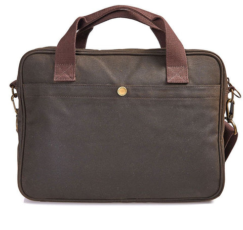 Barbour Wax Longthorpe Laptop Bag Olive