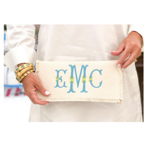 Monogrammed Fringe Canvas Clutch