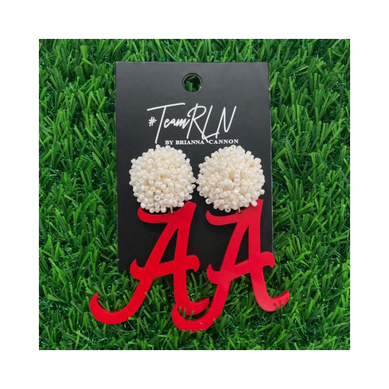 Alabama Crimson A Earrings with White Beads