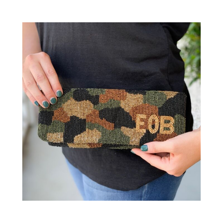 Camo Beaded Foldover Clutch with Monogram