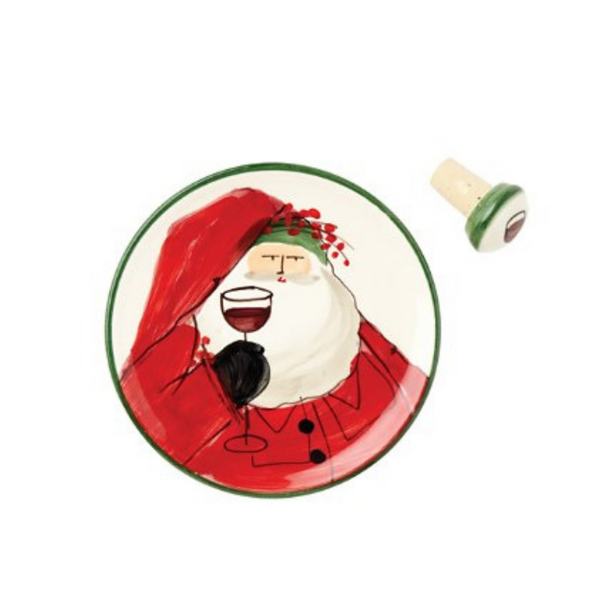 Vietri Old St. Nick Wine Plate with Bottle Stop
