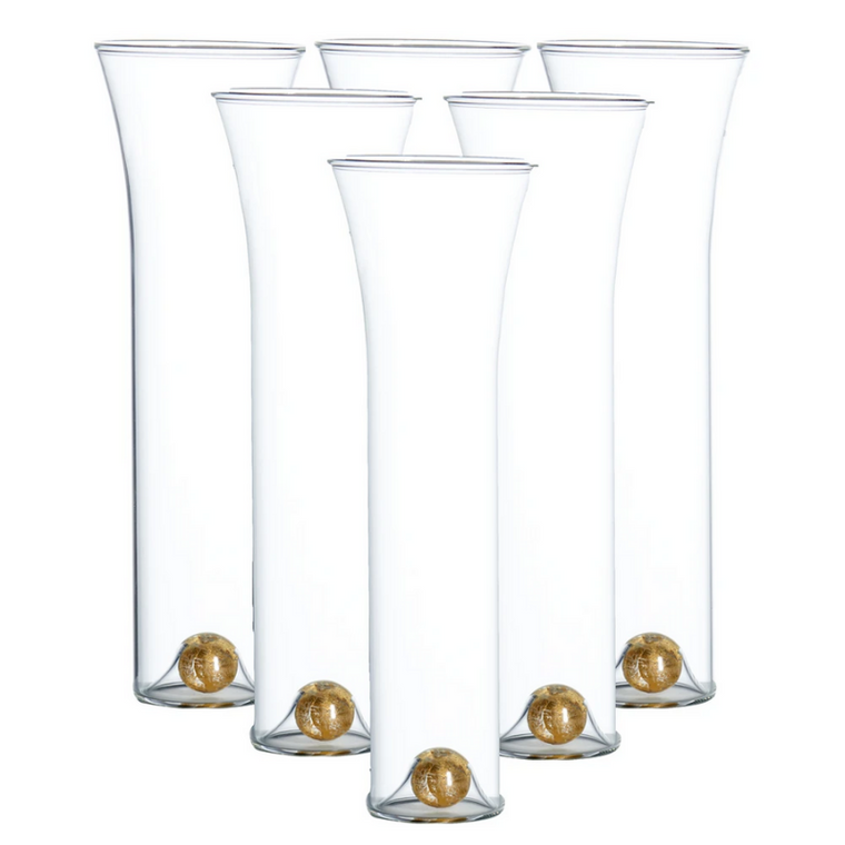 Champagne Flute with Gold Ball-Set of 6