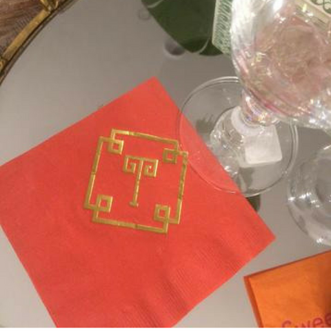 Greek Key Cocktail Napkin