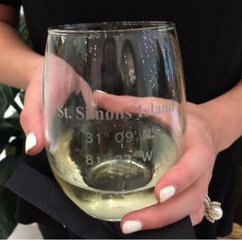 St. Simons Coordinate Stemless Wine Glass (Latitude, Longitude)