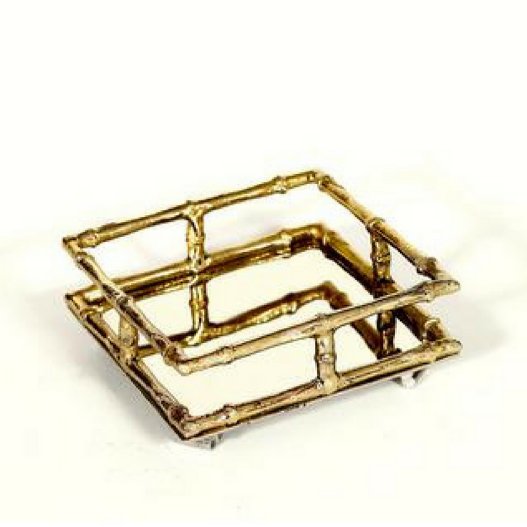 Bamboo Cocktail Napkin Holder-Brass