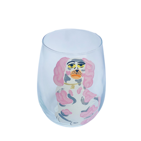 Hand Painted Staffordshire Stemless Wine Glass (three colorways)
