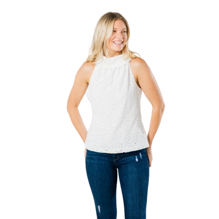 White Eyelet Cowl Neck Top