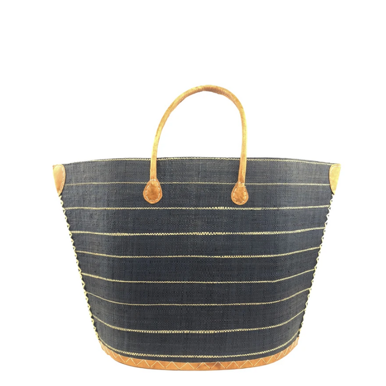 Pin Stripe Straw Tote