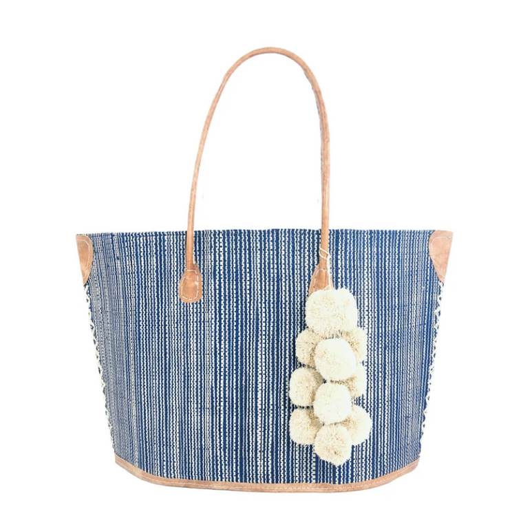 Manhattan Straw Tote with Pom-Pom