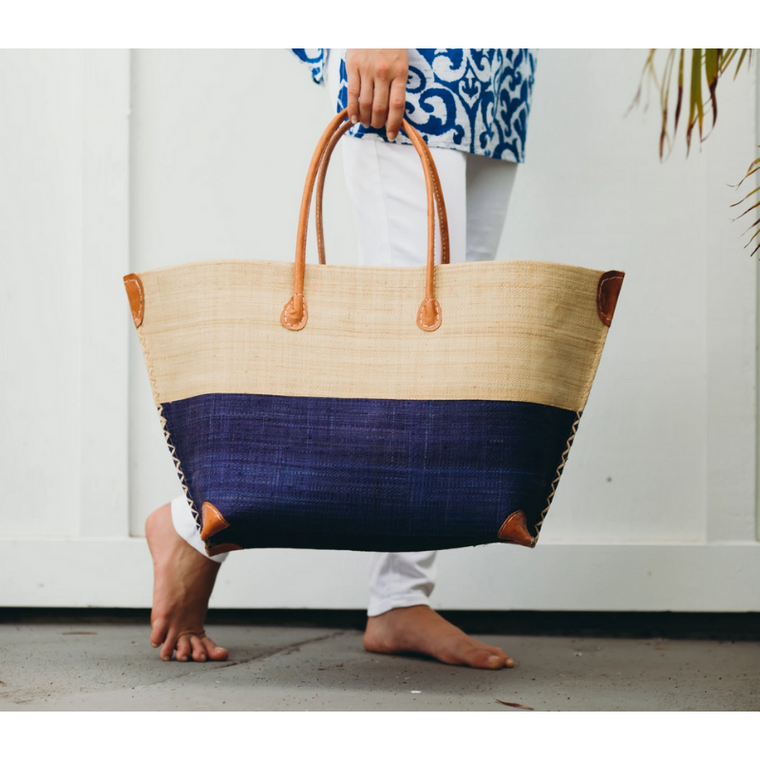 Monterey Two Tone Straw Tote