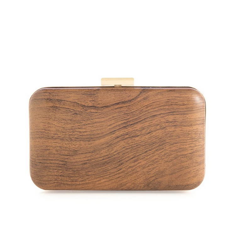 Willa Minaudiere Wood Clutch