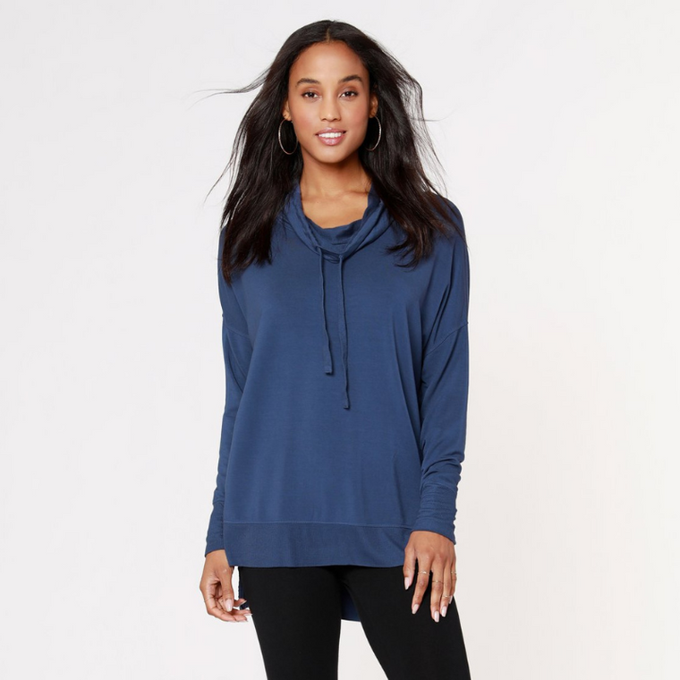 Funnel Neck High-Low Long Sleeve Top Coast
