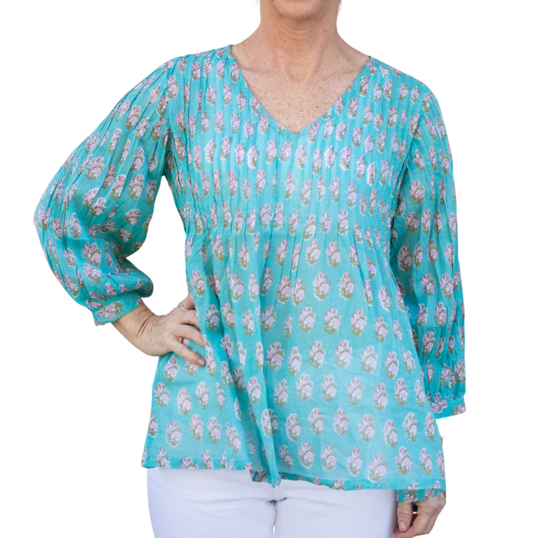 Jade Pintucked Tunic