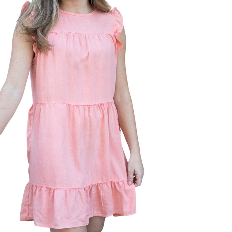 Bella Dahl Ruffle Sleeve Tiered Dress Coral