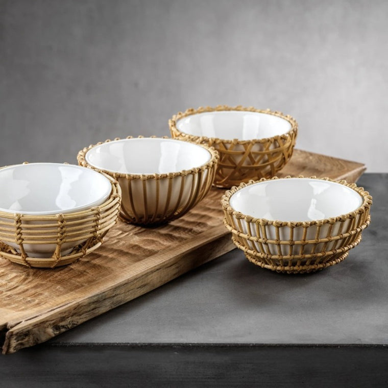 Wicker & Bamboo Condiment Bowl