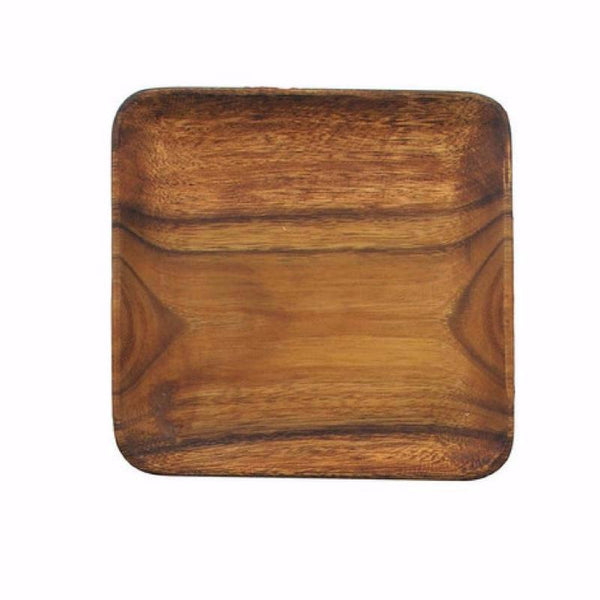 Large square acacia wood plate 12 inches by 12 inches | Two Friends | St. Simons Island, GA