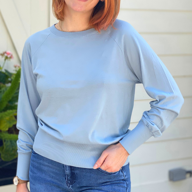 Bobi Blue Raglan Sleeve Top