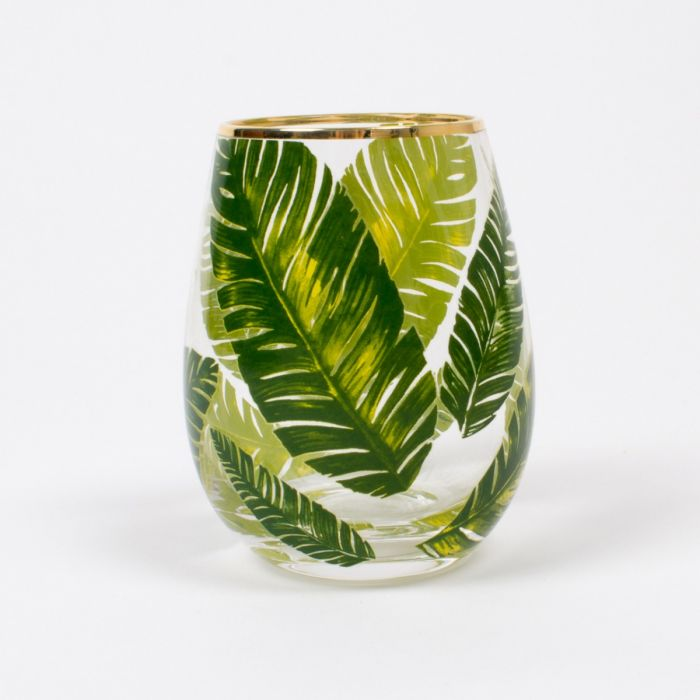 Tropical Botanical Leaf Stemless Wine Glass