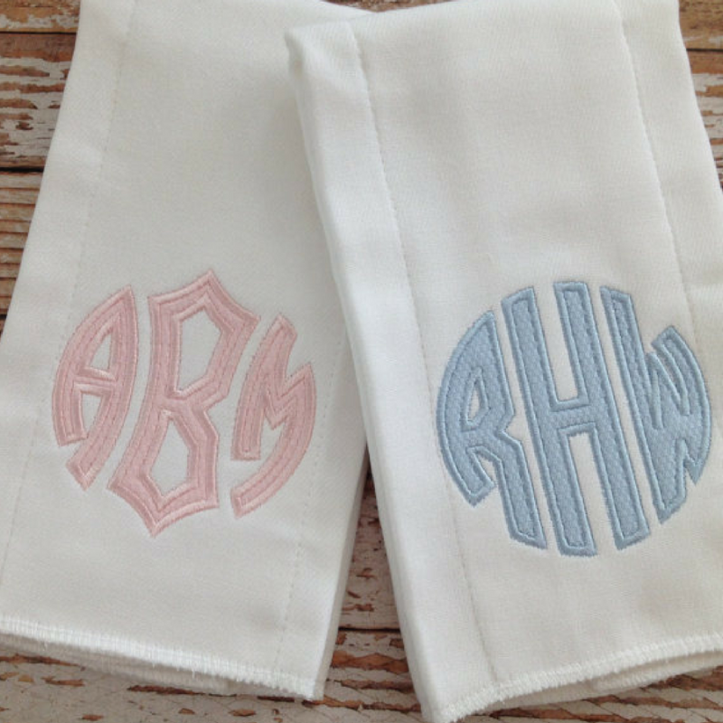 Monogrammed Burp Cloths