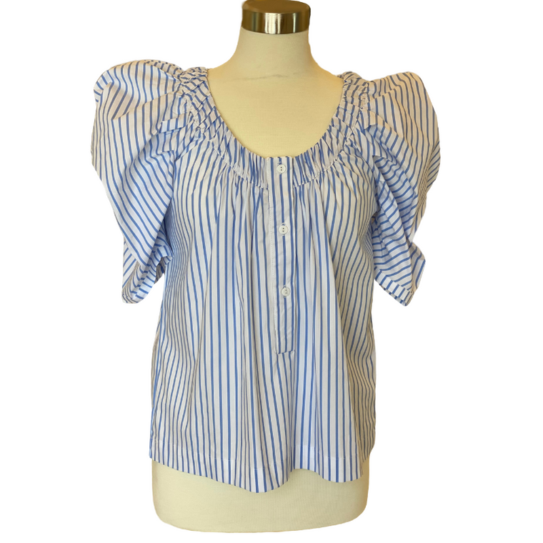 French Stripe Puff-Sleeve Top