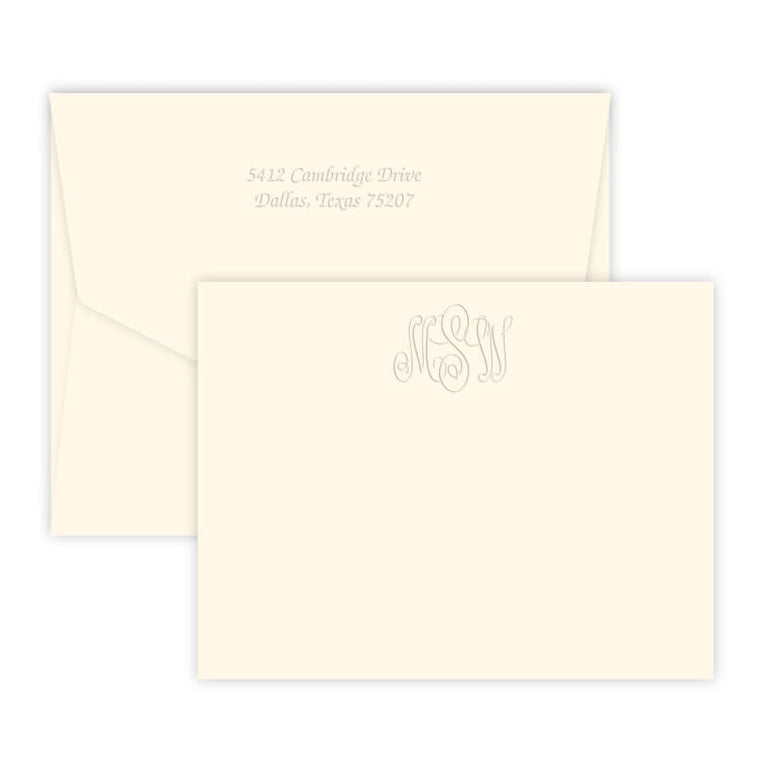 Classic Embossed Monogram Card