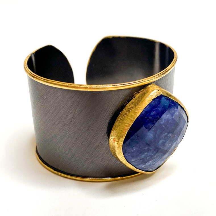 Elyssa Bass Rhodium Cuff with Sapphire Medallion
