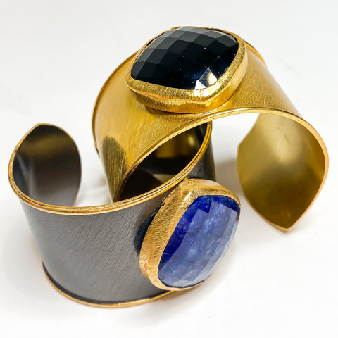 Elyssa Bass - Gold Cuff with Black Onyx Medallion