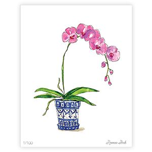 Hand Painted Pink Potted Orchid Framed 18