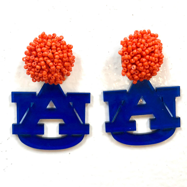 Auburn Dark Blue Translucent Acrylic AU with Orange Beaded Top